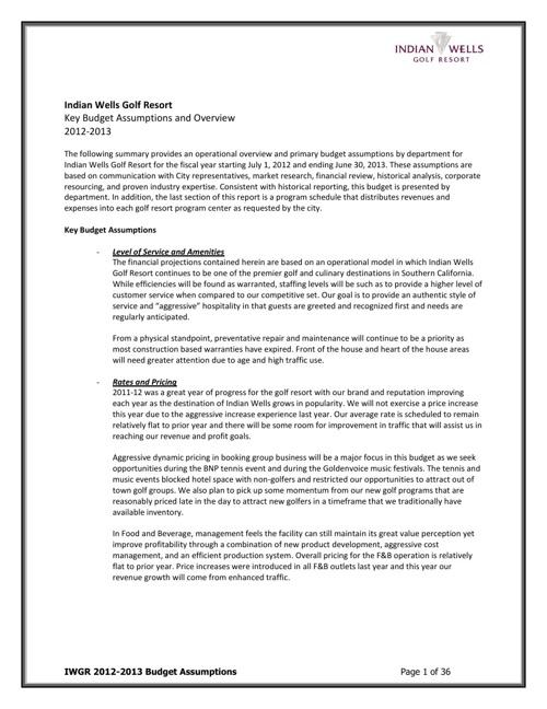 2012 - 2013 IWGR Business Plan