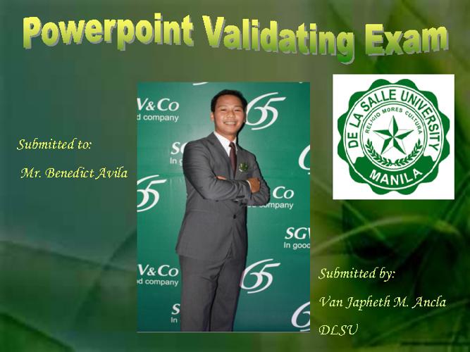 Power Point Validating Exam_Van J. M. Ancla