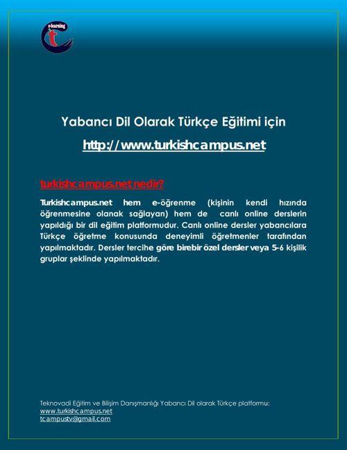 Yabancı Dil Olarak Türkçe Eğitimi