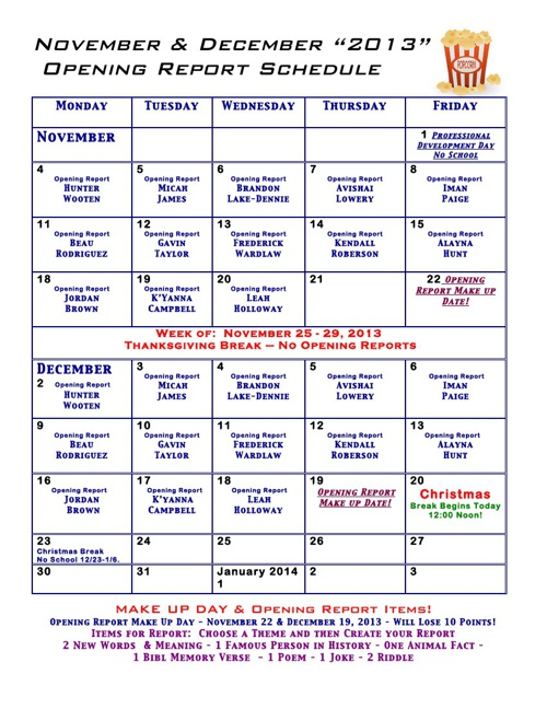 Opening Report Calendar Nov.