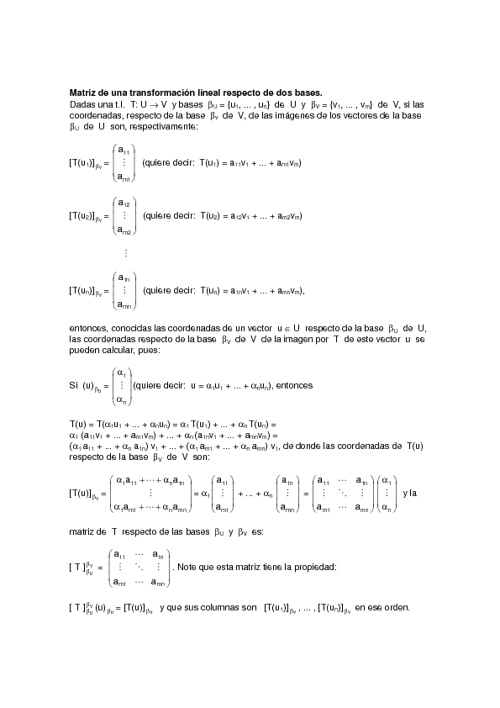 Transformaciones lineales respecto a dos bases