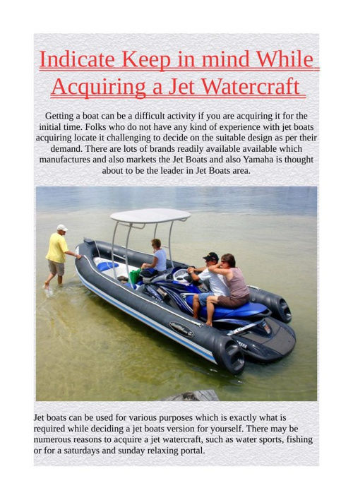 Indicate Keep in mind While Acquiring a Jet Watercraft