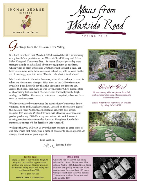 Thomas George Estates Newsletter - Spring 2013