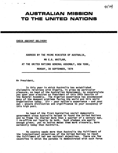 Speech to the United Nations General Assembly, New York 30 Sept