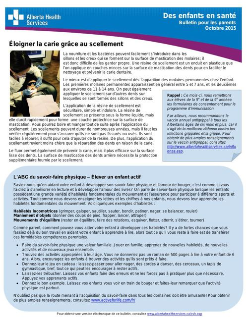 Alberta Health  Services Bulletin octobre 2015