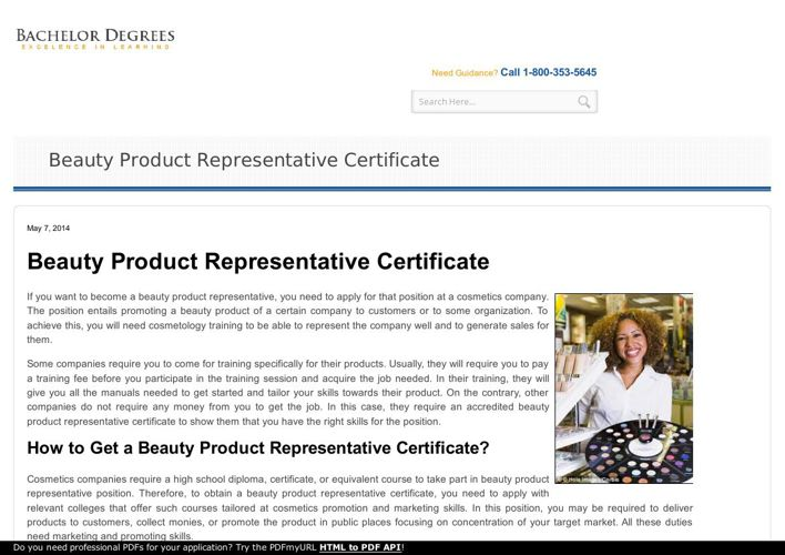 Potential of an accredited beauty product representative certifi