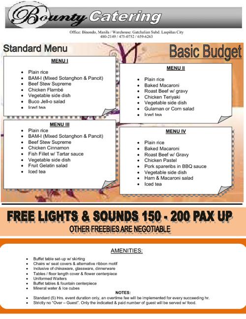 Bounty Standard Menu