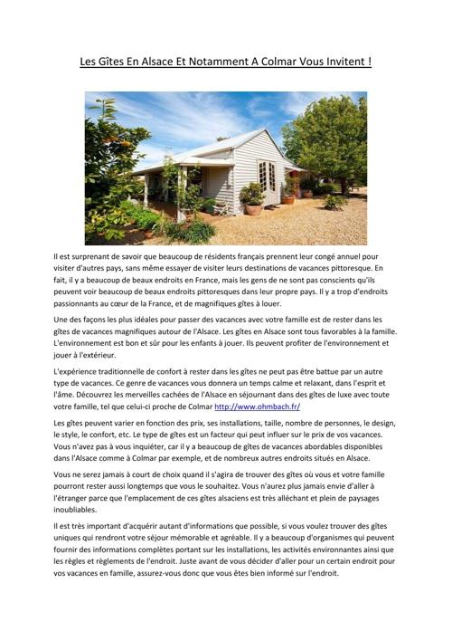 Les Gîtes En Alsace Et Notamment A Colmar Vous Invitent !