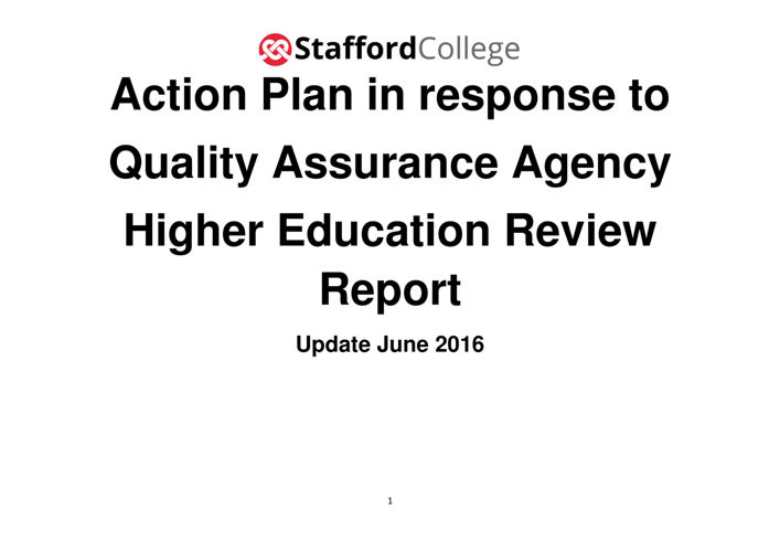 Stafford College HER Action Plan June 2016
