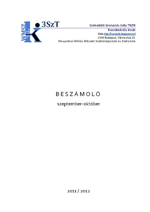 3SzT-Beszámoló 2011. 09/10.