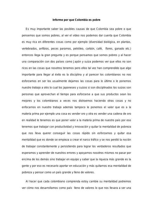informe porque colombia es pobre