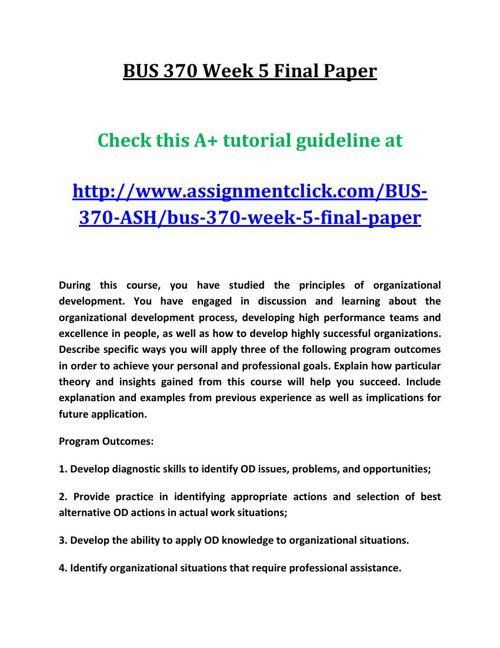 ASH BUS 370 Week 5 Final Paper