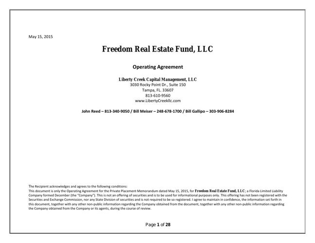 Freedom Real Estate Fund Final Landscape Operating Agreement