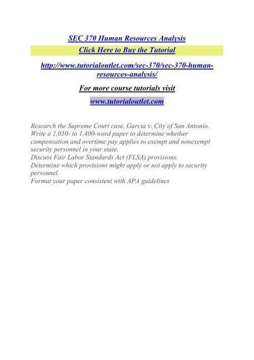 SEC 370 Human Resources Analysis