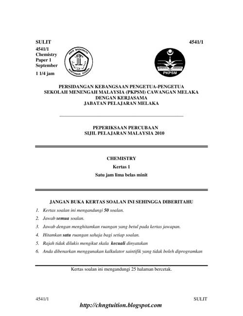 Malacca SPM trial 2010 ( Set 1 )