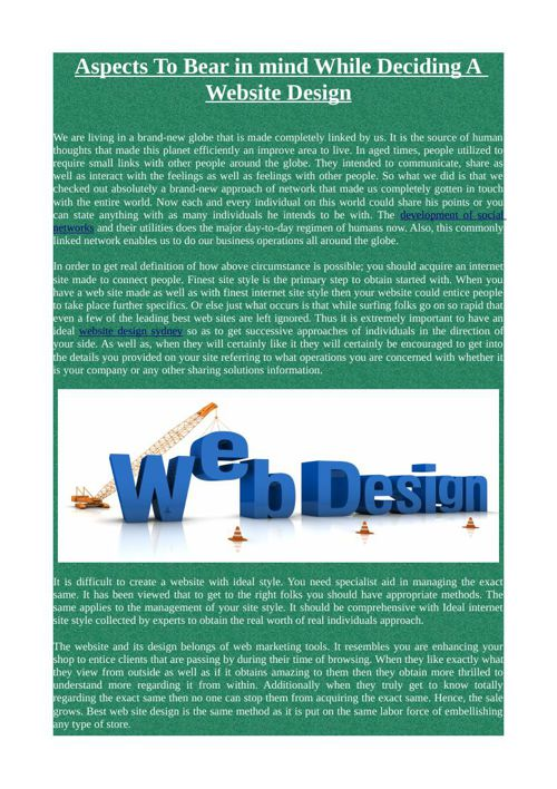 Aspects To Bear in mind While Deciding A Website Design