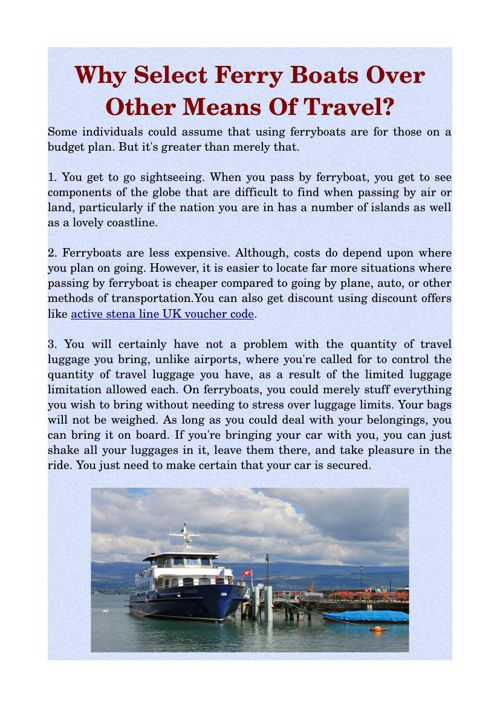 Why Select Ferry Boats Over Other Means Of Travel