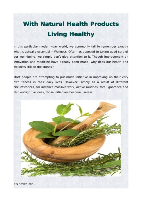 With Natural Health Products Living Healthy