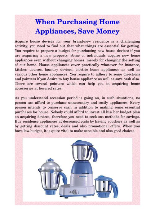 When Purchasing Home Appliances, Save Money