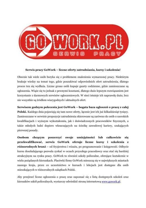 GoWork - liczne oferty zatrudnienia