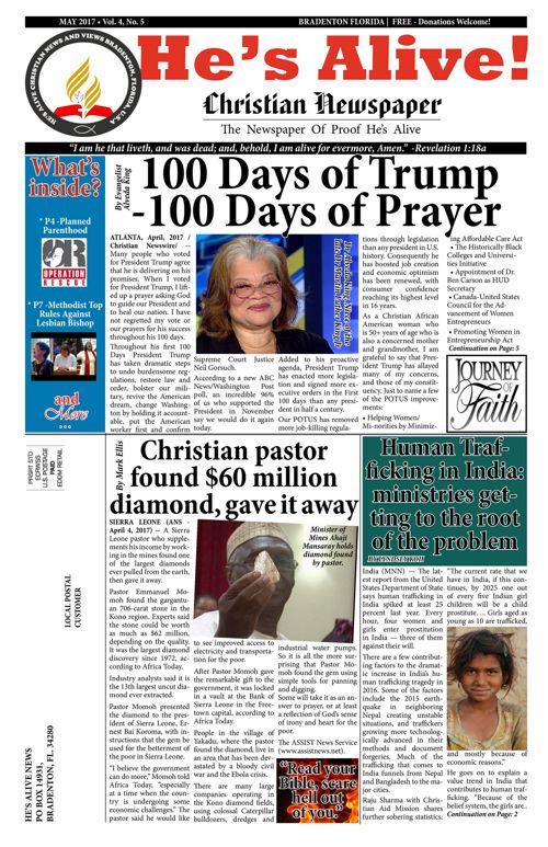 HE'S ALIVE CHRISTIAN NEWS MAY-2017