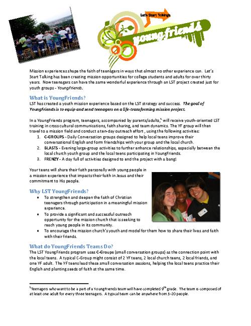 2013 YoungFriends Info Sheet