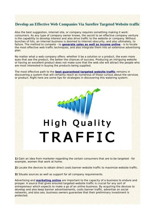 Develop an Effective Web Companies Via Surefire Targeted Website