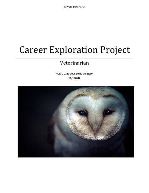 Deyma Mercado Career Exploration Project