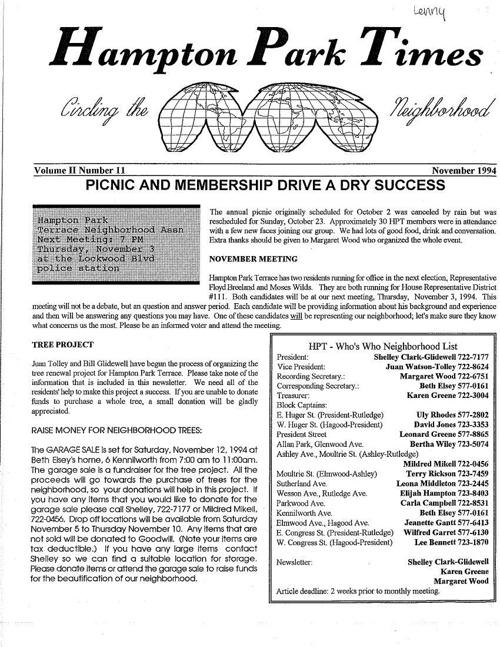 HPT Newsletter November 1994