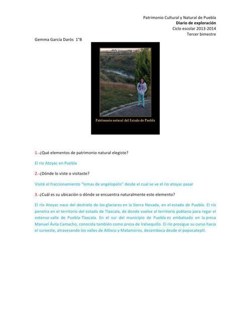 Diario de exploración, río Atoyac