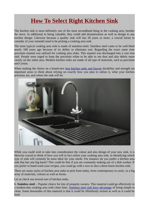 How To Select Right Kitchen Sink