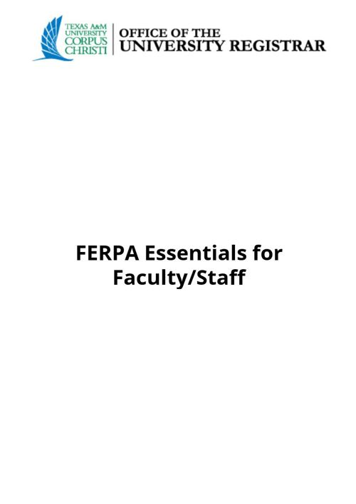 FERPA Essentials for Faculty/Staff