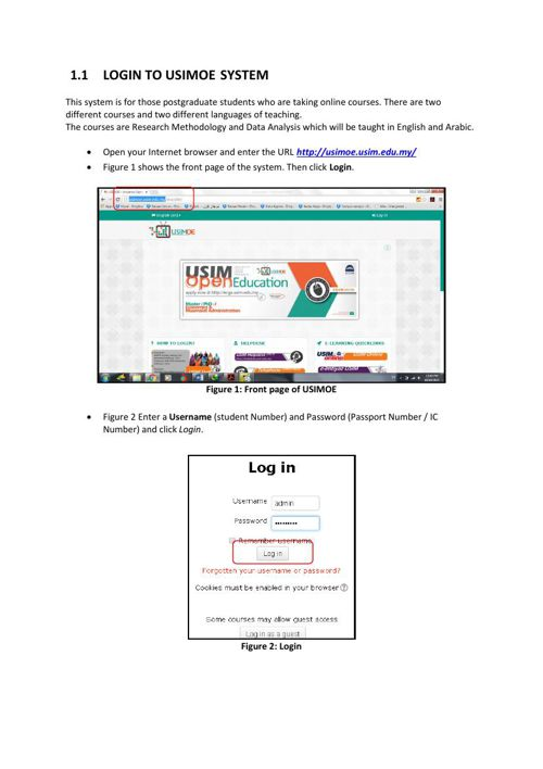 LOGIN TO USIMOE-student