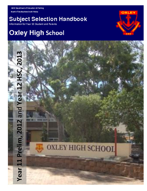 Oxley HS-Stage VI Subject Selection 2012