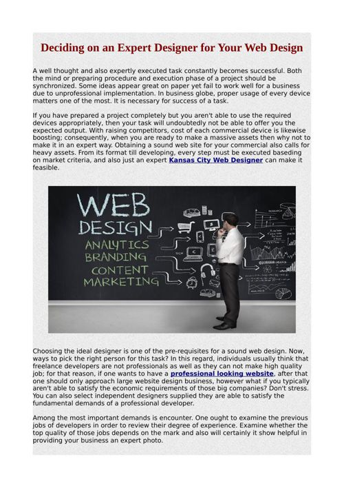 Deciding on an Expert Designer for Your Web Design
