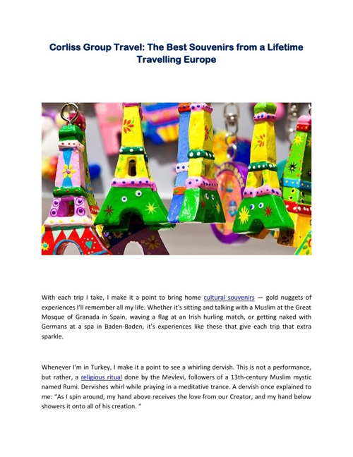 Corliss Group Travel: The Best Souvenirs from a Lifetime Travell