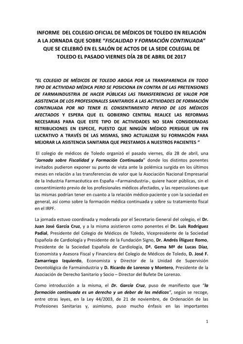 INFORME JORNADA FISCALIDAD Y FORMACIÓN CONTINUADA 28 DE ABRIL DE