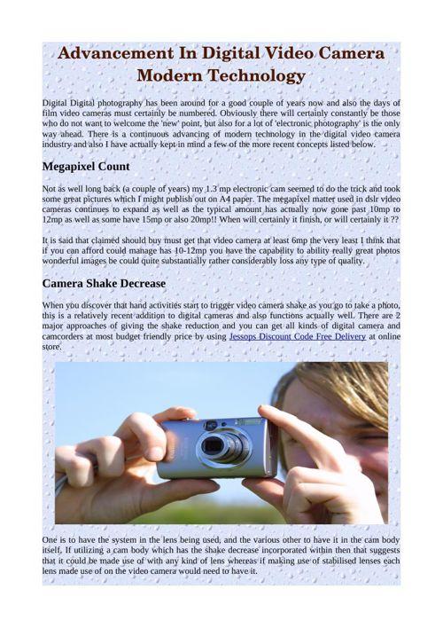 Advancement In Digital Video Camera Modern Technology