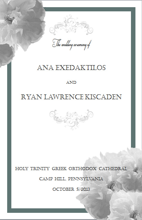 Ana and Ryan's Ceremony Programs