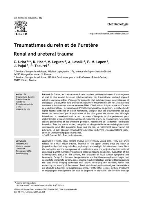 Radiologie : Traumatismes du rein et de l'uretère