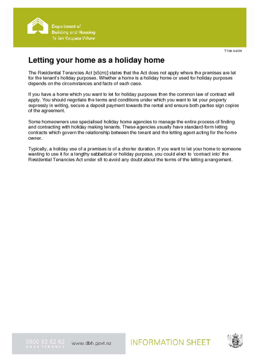 Letting your Home as a Holiday Home