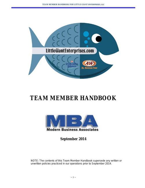 Employee Handbook MBA-LGE Revisions August 19 2014 Final Draft