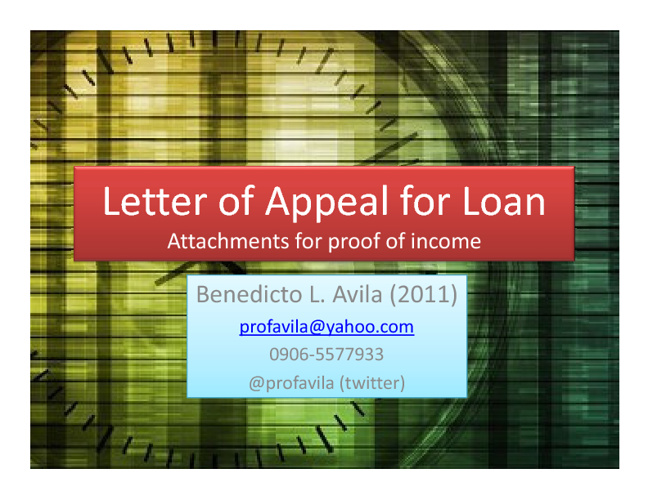 ProfAvila Proof of Income - to expire by Jan 31, 2012