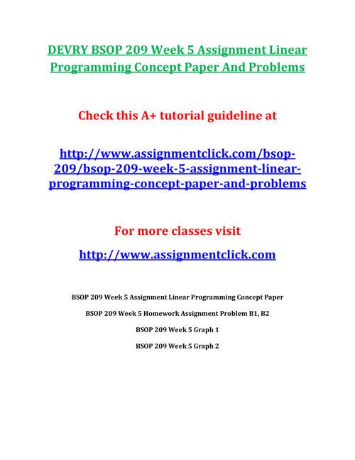 DEVRY BSOP 209 Week 5 Assignment Linear Programming Concept Pape