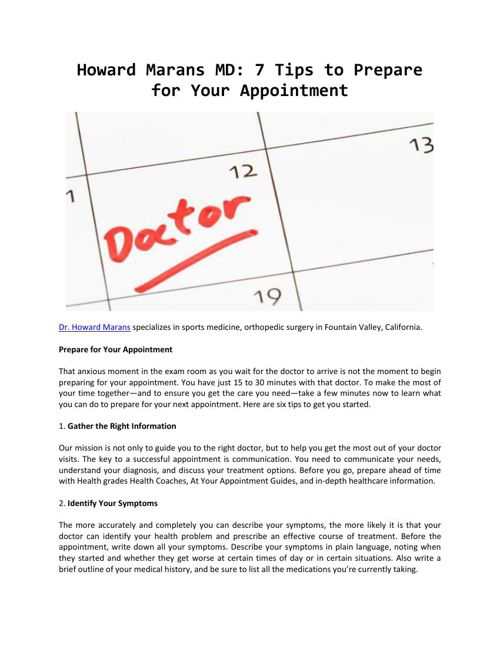 Howard Marans MD - 7 Tips to Prepare for Your Appointment