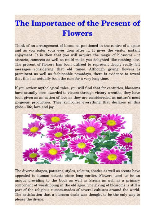The Importance of the Present of Flowers