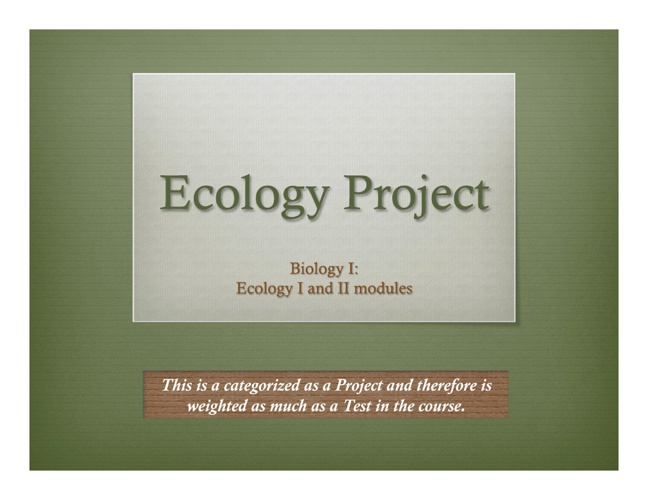 Ecology Project Guidelines