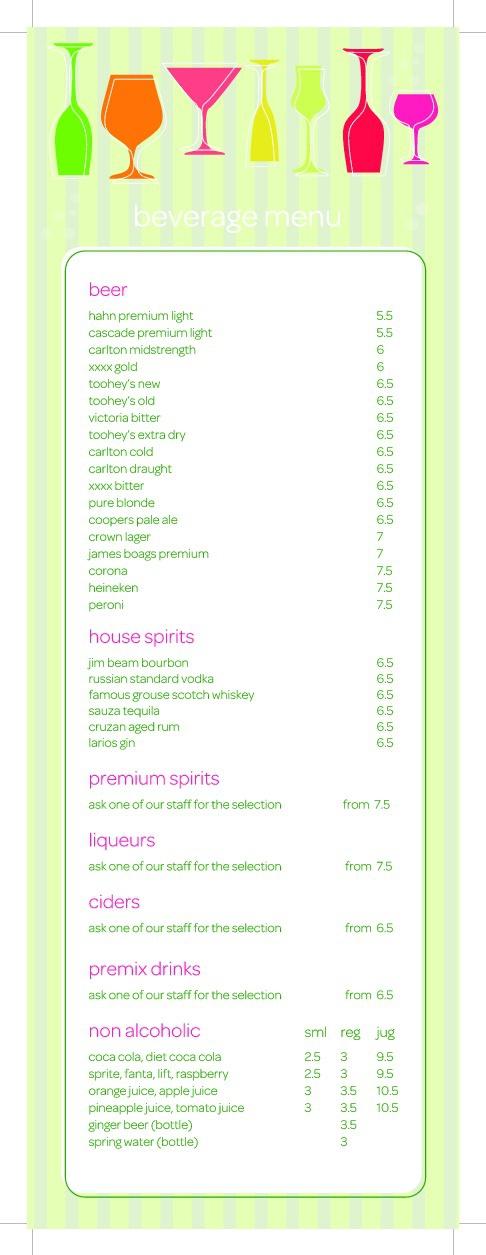 Poolside Cafe & Bar - Beverage Menu