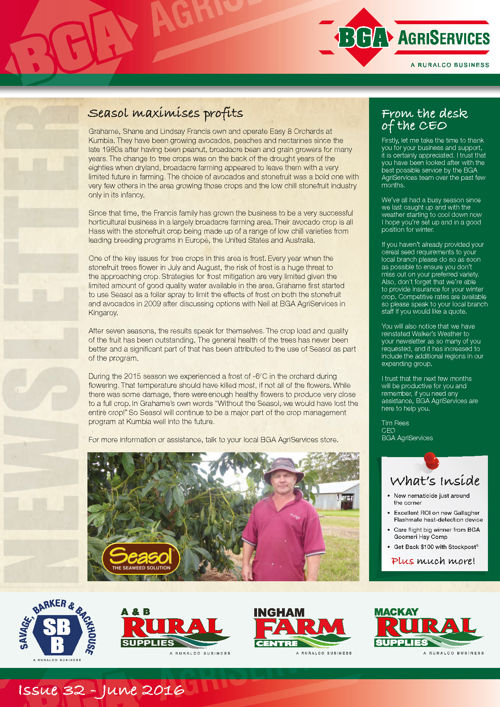 BGA AgriServices Newsletter – WINTER 2016
