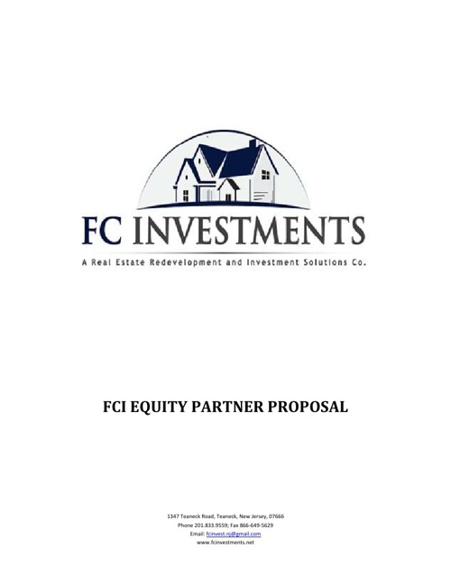 FCI Equity Partnership Proposal